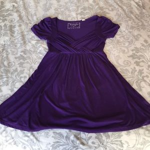 Long Purple Short Sleeve Top/Mini-Dress